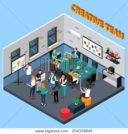Creative team discusses project in office with glass table, coffee machine, boards with information isometric vector illustration
