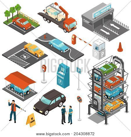 Colored isometric car parking icon set with different types of parking and payment terminals vector illustration