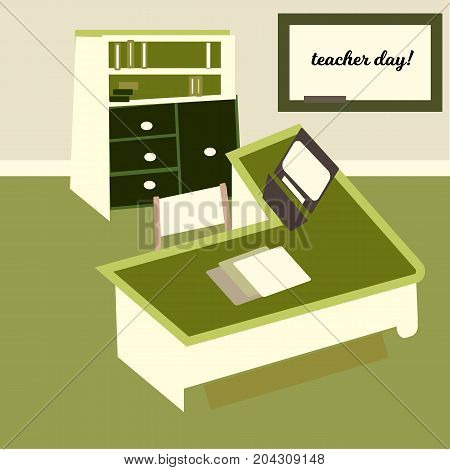 Happy teacher s day concept on green chalkboard, Vector, bookcase and desk