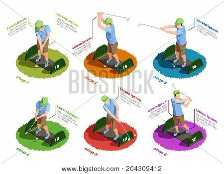Golf colored isometric icons set of male players in different poses dealing putt with putters isolated vector illustration