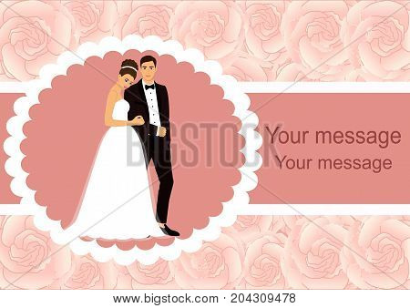 Invitation card with the bride and groom on a floral background. Bride and groom. Wedding invitation. Vector illustration.