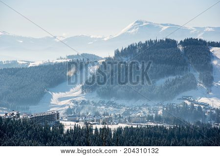 View Of Beautiful Snowy Mountains On A Sunny Winter Day Landscape Layout Scenery Wallpaper Backgroun