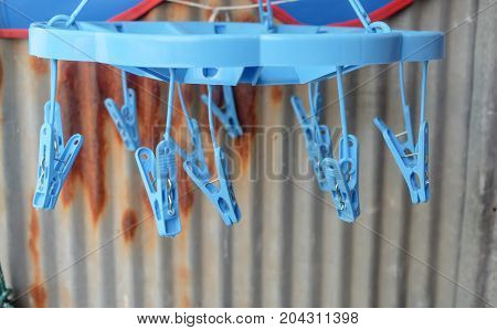 Hanging clothes or underwear, plastic clamp for clothes drying.