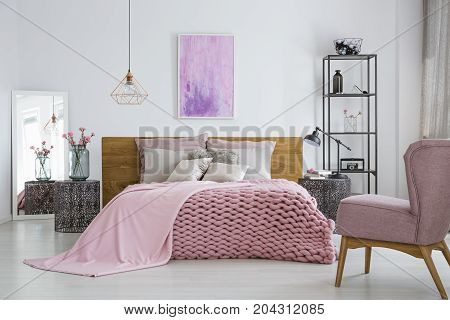 Knit Blanket In Feminine Bedroom