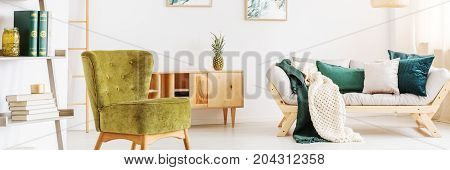 Rotten Green Chair In Room