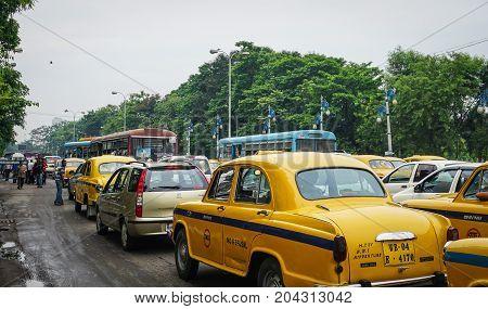 Traffic On Street At Downtown In Kolkata, India