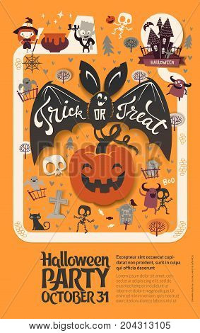 Holiday Happy Halloween flyer template with funny cartoon smiling bat with spread wings and Trick or Treat lettering carrying carved Halloween pumpkin against orange background