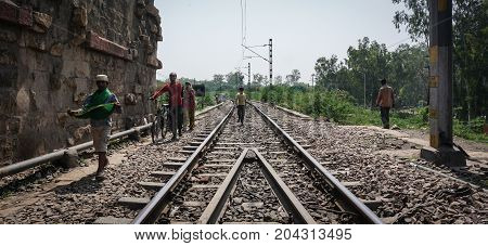 People Walking On Railway Track In Agra, India