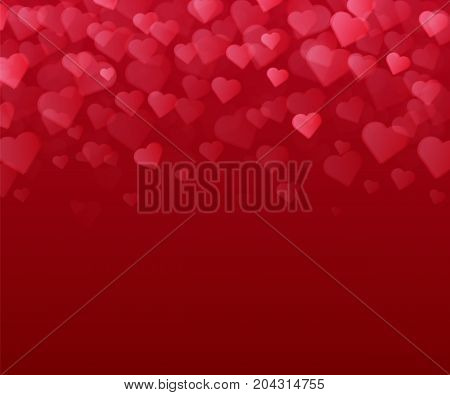 Red background with many hearts. Valentines Day Card. Vector illustration