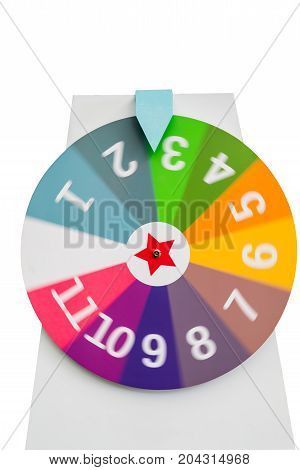 Spinning colorful fortune wheel with white digit numbers isolated on white background
