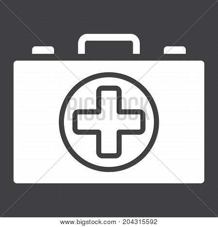 First aid kit box glyph icon, medicine and healthcare, medical case sign vector graphics, a solid pattern on a black background, eps 10.