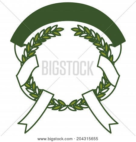 green olive branches and ribbon interlace vector illustration