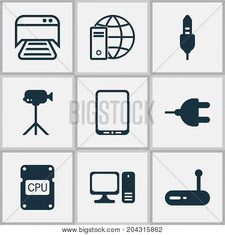 Hardware Icons Set. Collection Of Aux Cord, Internet Network, Camcorder And Other Elements