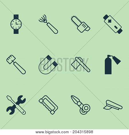 Tools Icons Set. Collection Of Harrow, Clippers, Screwdriver With Wrench And Other Elements