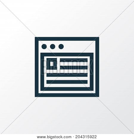 Premium Quality Isolated Browser Element In Trendy Style.  Web Outline Symbol.