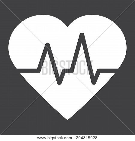Heartbeat glyph icon, medicine and healthcare, pulse sign vector graphics, a solid pattern on a black background, eps 10.