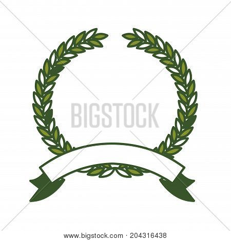 olive branch green crown and ribbon on bottom vector illustration
