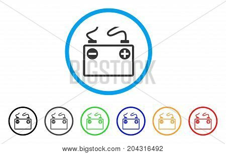 Accumulator Battery icon. Vector illustration style is a flat iconic accumulator battery gray rounded symbol inside light blue circle with black, gray, green, blue, red, orange color variants.