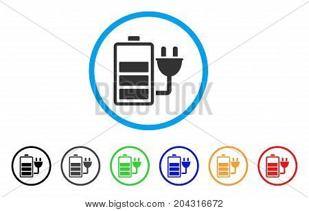 Charge Battery icon. Vector illustration style is a flat iconic charge battery gray rounded symbol inside light blue circle with black, gray, green, blue, red, orange color versions.