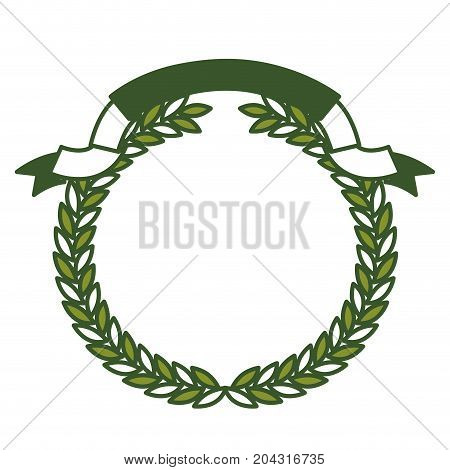 olive branch green crown and ribbon on top vector illustration