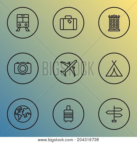 Journey Outline Icons Set. Collection Of Video, Canopy, Suitcase And Other Elements