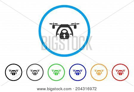 drone loading icon vector style is a flat iconic drone loading gray rounded symbol