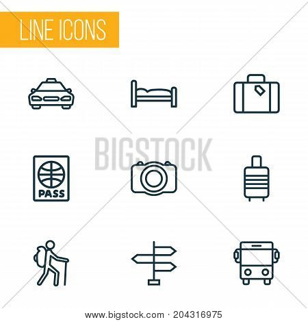 Exploration Outline Icons Set. Collection Of Luggage, Direction, Video And Other Elements