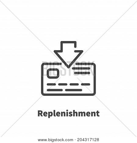 Replenishment of bank card account icon vector symbol in line style isolated on white background. Editable stroke 48x48 pixel perfect.