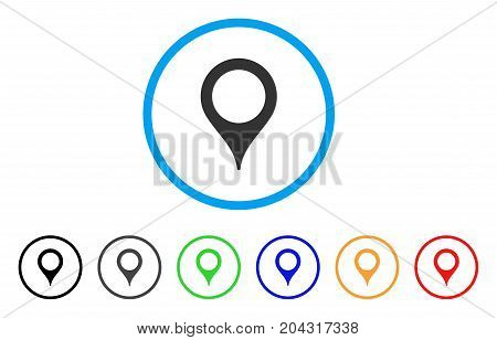 Map Marker icon. Vector illustration style is a flat iconic map marker grey rounded symbol inside light blue circle with black, gray, green, blue, red, orange color additional versions.