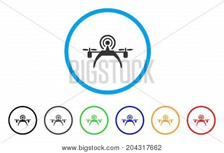 Radio Source Drone icon. Vector illustration style is a flat iconic radio source drone grey rounded symbol inside light blue circle with black, gray, green, blue, red, orange color versions.