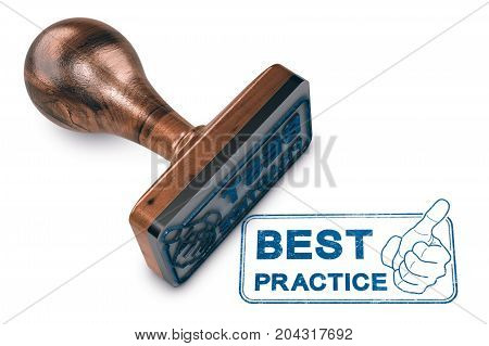 3D illustration of a rubber stamp mark with thumb up and text best practice over white background