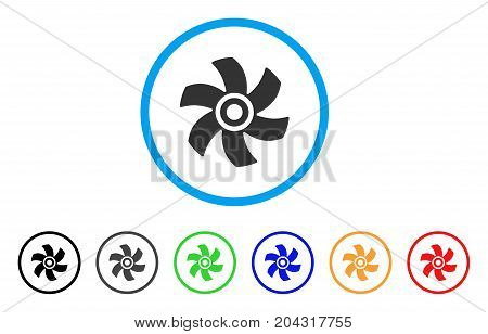 Rotor icon. Vector illustration style is a flat iconic rotor gray rounded symbol inside light blue circle with black, gray, green, blue, red, orange color additional versions.