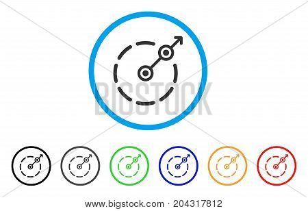 Round Area Exit icon. Vector illustration style is a flat iconic round area exit grey rounded symbol inside light blue circle with black, gray, green, blue, red, orange color versions.