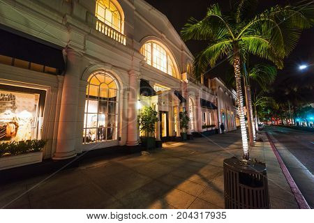 Rodeo Drive in Beverly Hills. Night shot.