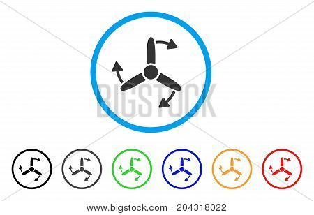 Three Bladed Screw Rotation icon. Vector illustration style is a flat iconic three bladed screw rotation gray rounded symbol inside light blue circle with black, gray, green, blue, red,