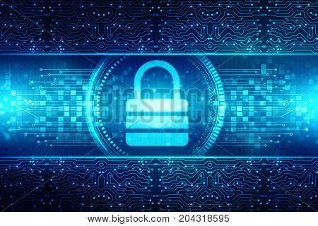 Security concept: Lock on digital screen, Cyber Security concept. 3d render