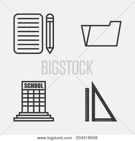 School Icons Set. Collection Of Home Work, Document Case, Measurement And Other Elements