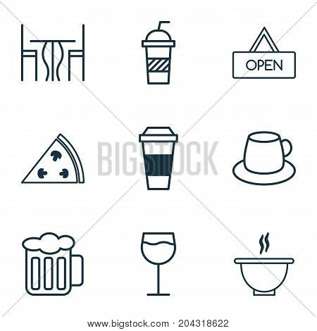 Restaurant Icons Set. Collection Of Board, Wineglass, Pepperoni And Other Elements
