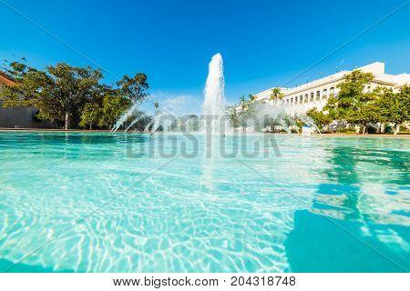 Fountain in Balboa park in California USA
