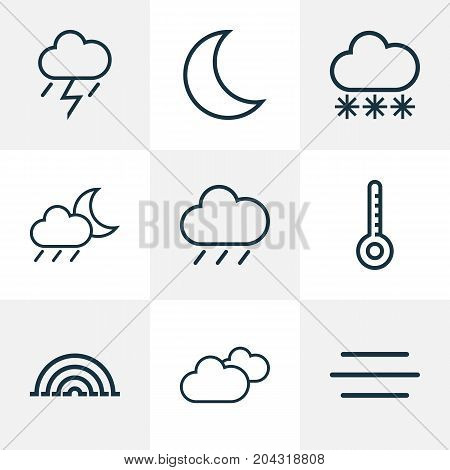 Climate Outline Icons Set. Collection Of Rain, Overcast, Rainstorm And Other Elements