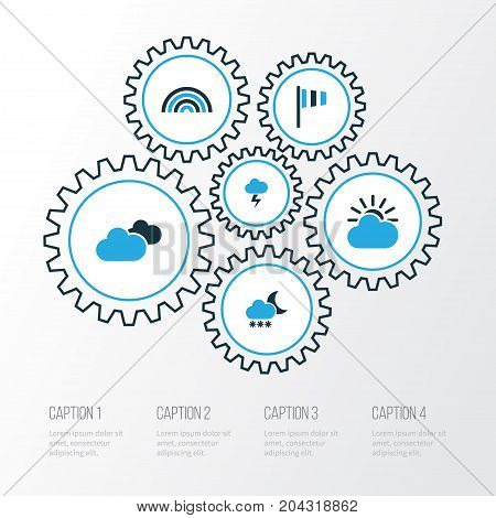 Climate Colorful Icons Set. Collection Of Cloudy Sky, Lightning, Arc And Other Elements