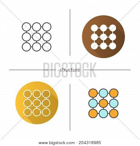 Structure symbol icon. Flat design, linear and color styles. Composition abstract metaphor. Isolated vector illustrations