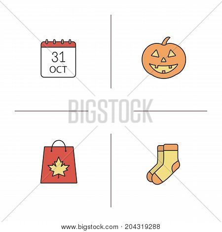 Halloween color icons set. Pumpkin, warm socks, October 31 date, shopping bag with maple leaf. Isolated vector illustrations