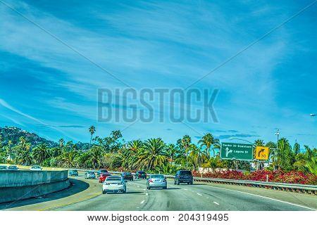 Traffic in 101 freeway northbound. California USA