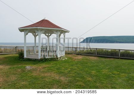 Cliff top gazebo Cape Breton Highlands Ingonish Cape Breton Island Nova Scotia Canada