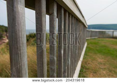 Wooden fence Cape Breton Highlands Ingonish Cape Breton Island Nova Scotia Canada