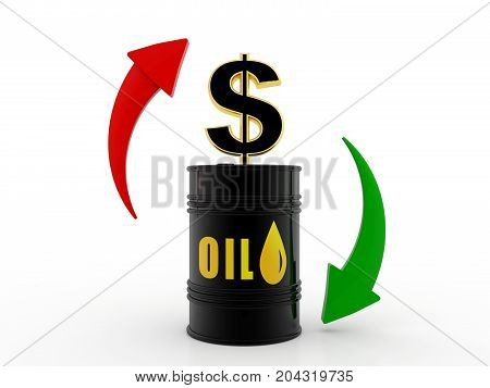 Oil price, Oil Industry concept with Barrel and Dollar. 3d render