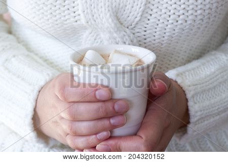 Hot Homemade Cocoa With Marshmallow In The Hands Of A Woman. Woman In A White Sweater. Rustic Style,