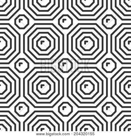 Octahedron tile. Geometric seamless pattern in line style. Vector illustration for minimalistic design. Abstract background.