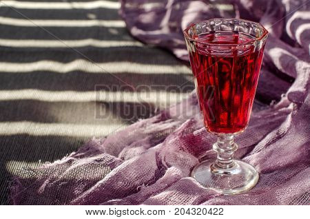 Beautiful Vintage Glass With Red Wine